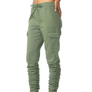 Almost Famous JRs Green Hi-Rise Ruched Cargo SZLG